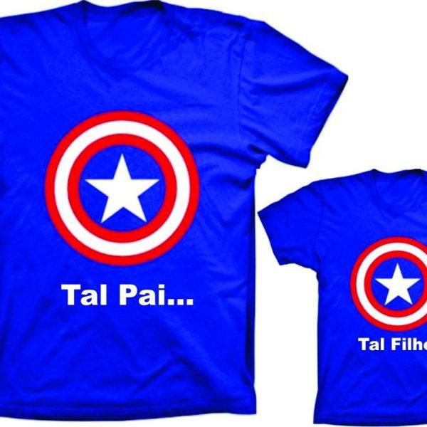 44272d5cdab84c Camiseta Capitão América Tal Pai tal filho(a) c/ 2un
