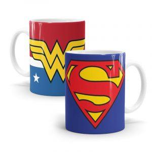 Kit 2 Canecas Superman e Mulher Maravilha