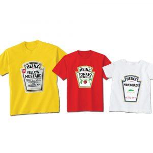 Camisetas Molhos Catchup, Mostarda e Maionese