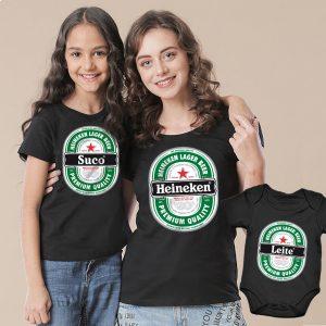 Camisetas Tal Pai Tal Mãe Tal Filho(a) Heineken 3un