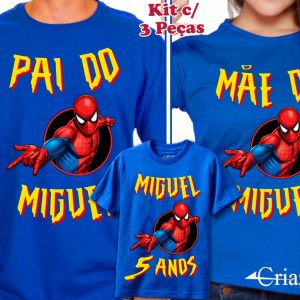 Kit Camisetas Homem Aranha Tal Pai Tal Mãe Tal Filho