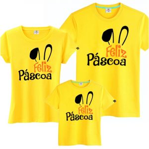 Camisetas Tal Pai Tal Mãe Tal Filho(a) Feliz Páscoa 3un
