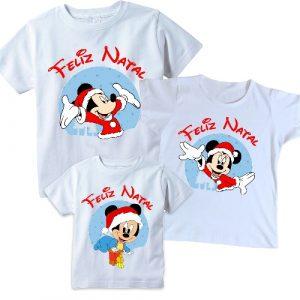Camiseta  Natal em Família  Mickey Minnie 3 unidades