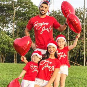 Camiseta Sempre Juntos Natal em Família 3 unidades