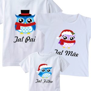 Camiseta  Natal Corujinha 3 Unidades