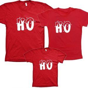 Camiseta  Natal em Família  ho ho ho 3 unidades